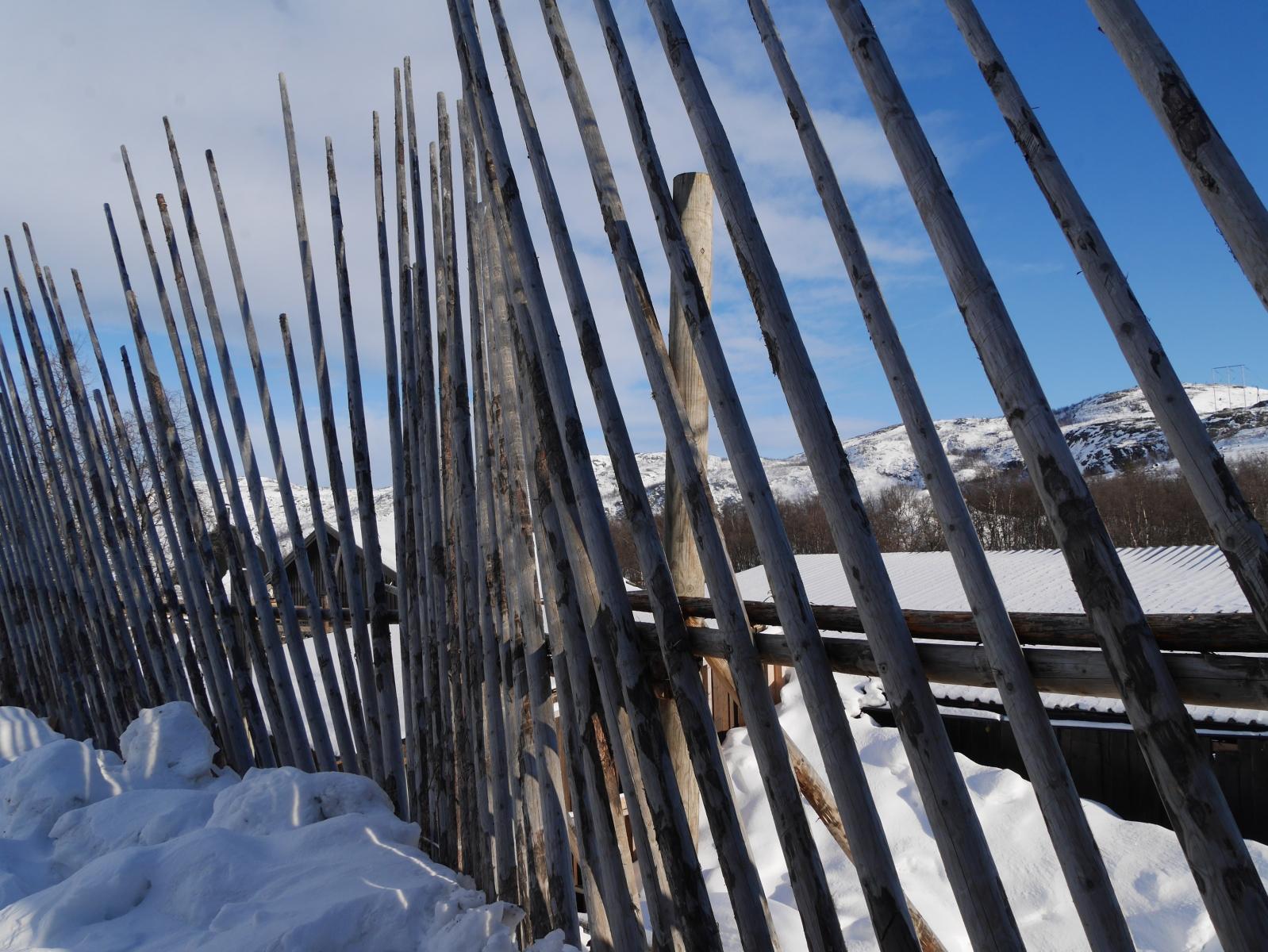 Hohe Latten sichern das Gelände einerseits als Zaun, andererseits als Schutz gegen Schneeverwehungen